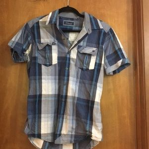 Men's 7 diamonds button up short sleeve shirt